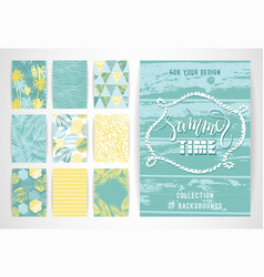 set of summer background templates design vector image vector image