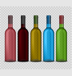 set of transparent bottle of wine on vector image