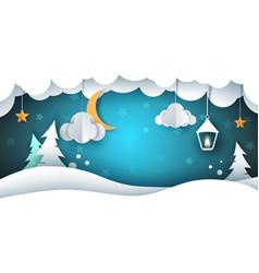 Snow landscape - paper cloud fir vector