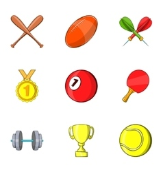Sports accessories icons set cartoon style vector