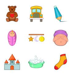 Tiny tot icons set cartoon style vector