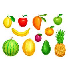 Tropical and garden fruit watercolor set vector