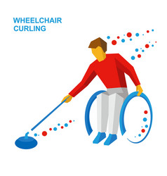 wheelchair curling curler with disabilities vector image vector image