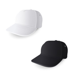 white and black baseball caps vector image vector image