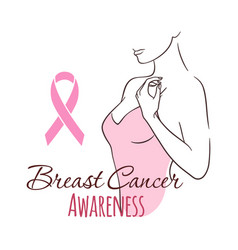 Woman with pink ribbon breast cancer awareness vector