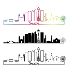 Seattle v2 skyline linear style with rainbow vector
