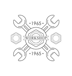 Crossed wrenches premium quality wood workshop vector