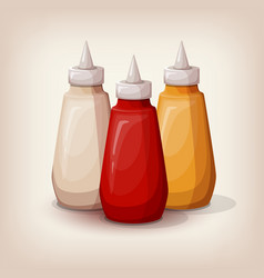Set of delicious fast food sauces vector