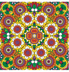 Ethnic bright mandala style flowers pattern vector