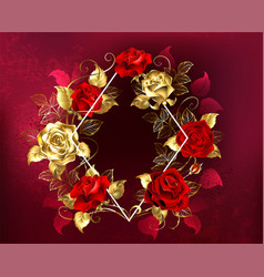 Rhombus with roses vector