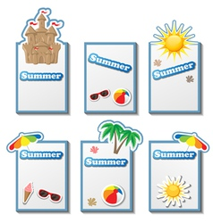 Summer card set with stickers vector