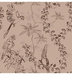 Wallpaper vintage parrot pattern vector image