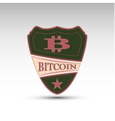 Shield with symbol bitcoin vector