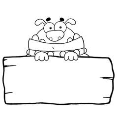 Cartoon bulldog on log vector image