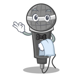 Waiter microphone cartoon character design vector