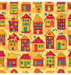 Seamless pattern colorful houses vector