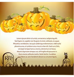 Halloween with pumpkins for invite cards vector