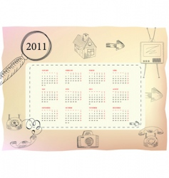 template for calendar for 2011 vector image