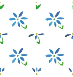 Seamless pattern with grunge watercolor flowers vector image