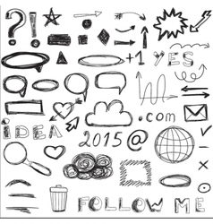 Set of sketched social and digital icons vector