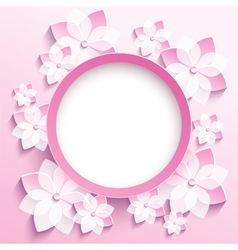 Round frame with 3d pink sakura greeting card vector
