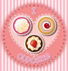 cupcake on heart shape vector image