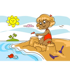 young girl at the beach vector image