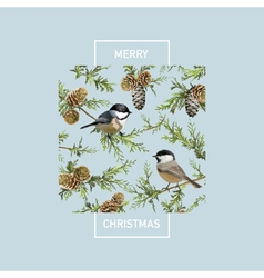 Vintage christmas card - winter birds vector
