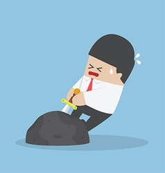 Businessman try to pull sword from stone vector