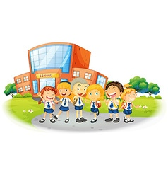 Children in school uniform at school vector image