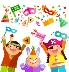 Purim elements and kids vector