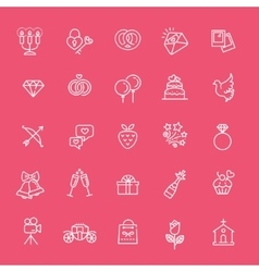 Outline web icon set wedding vector