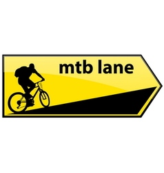 Mtb cycle lane signboard vector