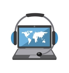 Laptop map headphone icon delivery and shipping vector