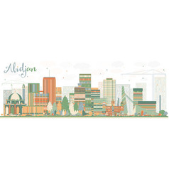 Abstract abidjan skyline with color buildings vector