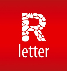 Abstract logo letter R with stones vector image