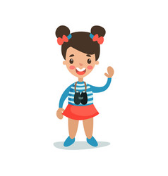 beautiful little girl in sailors costume playing vector image