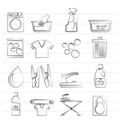 black washing machine and laundry icons vector image