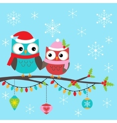 Christmas card with owls vector image vector image
