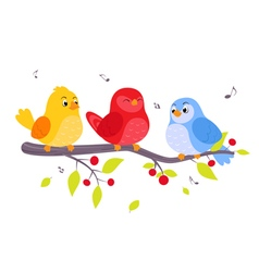 Colorful birds sitting on branch vector image vector image