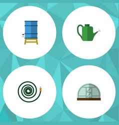 Flat icon farm set of hothouse container bailer vector