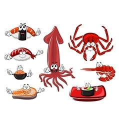 Fresh and tasty cartoon seafood vector image vector image