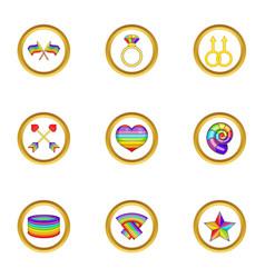 Lgbt symbols icons set cartoon style vector