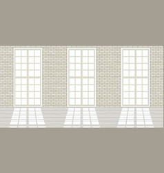Loft studio interior big windows white brick vector