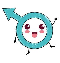 Male symbol kawaii character vector