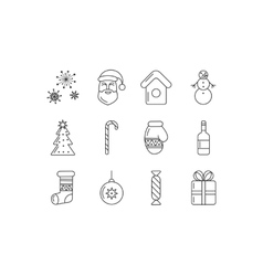 Merry Christmas outline icon set vector image
