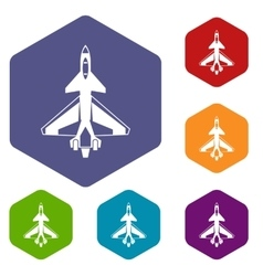 Military fighter jet icons set vector image vector image