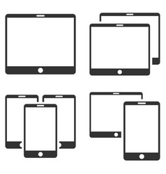 Mobile device flat icon set vector