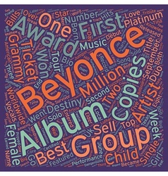 Music artist beyonce bio text background wordcloud vector