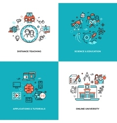 Online learning tutorials and education vector